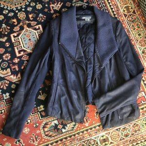 Vince Leather Scuba Jacket —- Navy Blue Size M